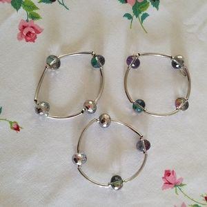 Cookie Lee silver stretch triple bracelet